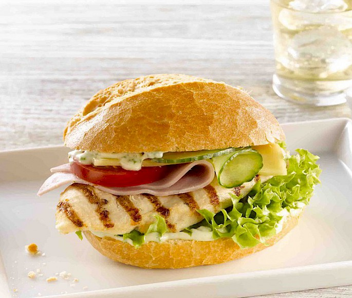 Grilled Chicken mit Gouda & Schinken